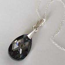 Swarovski Elements Crystal Necklace 22mm Pendant Teardrop Sterling Silver Night