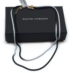 "New DAVID YURMAN Bel Aire Ombre Box Chain 34"" Necklace Black White 14K Gold"