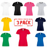 3 x Fruit Of The Loom LADIES T-SHIRT SOFTSPUN COTTON TEE TOP SOFT CREW NECK PACK