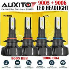 4X Fanless 9005 9006 Combo Kit White 6000K LED Headlight Hi/Lo Beam Bulbs B1 EA