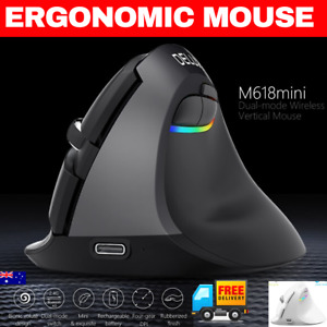 Rechargeable Wireless Vertical Ergonomic Mouse RGB BLUETOOTH Gaming type c mac