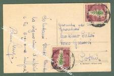 Storia postale. REPUBBLICA ITALIANA. Due esemplari lire 5 Tabacco su cartolina..