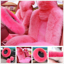 Pink Wool Fur Car 2 Front Seat Cover+Steering Wheel/Handbrake/Gear Shift Covers
