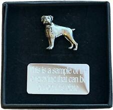 More details for personalised gift box & hand made boxer dog (d8) pewter pin badge