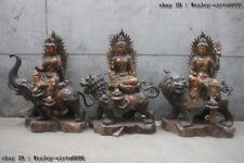 Chinese Bronze Manjusri Manjushri Samantabhadra Avalokiteshvara Kwan-yin GuanYin