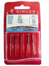 Agujas Singer 2032 90/14 y 100/16 para coser cuero / Singer Leather Neddle 2032