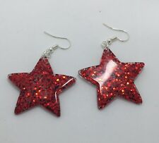 Red Large Star Glitter Charms Resin Earrings D204 Kitsch 5.5cm Silver Fun