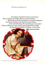 "1969 JAL Japan Airlines Stewardess photo ""The Artful Conjurer"" promo print ad"