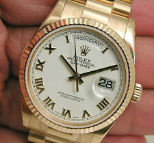 Rolex DAY DATE President 118238 Mens Yellow Gold White Roman Dial 36MM