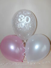 Girls Pink White & Clear Printed 30th BIRTHDAY BALLOONS / Party Decorations x 15