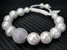 WOMENS PEARL COLOR BEAD/BEADED BRACELET MACRAME 925 STERLING SILVER WHITE STRING