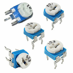 5 x 5 Variable Trimpot Resistor Single Turn 200 V & H, 10k H, 50k H, 100k H Ohm