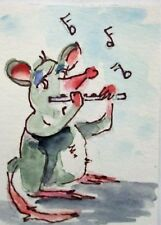 Aceo musical flute mouse mice collectible art Delilah