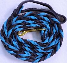 """6'8"""" ft Horse Leather Braided Lead Rope w/Metal Snap Turquoise/Purple Color"""