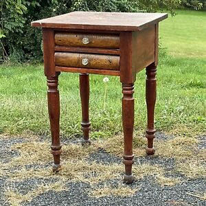 antique tiger maple & cherry red wash two drawer work table patina sheraton 1830