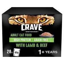 28 x 85g Crave Grain Free 1+ Adult Wet Cat Food Pouches Lamb & Beef in Loaf