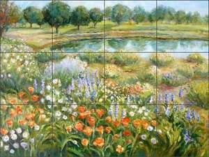 Ceramic Tile Mural Kitchen Backsplash Margosian Floral Pond Landscape Art JM120