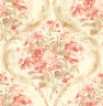 Roses Pansies and Wreaths Romantic Rose Gold Green Cream Double Roll Wallpaper