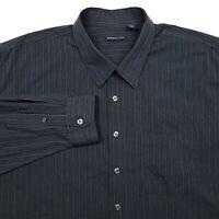 Van Heusen Studio Black Striped Button Up Long Sleeve Shirt Men's 3XLT 3XL Tall