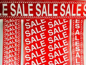 PACK OF 4x SALE DISPLAY BANNERS/ROLLS  SHOP WINDOW WAREHOUSE 10m LONG BARGAIN!