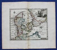 Antique atlas map DENMARK, 'REGNI DANIAE', P Cluver, Cluverius, published c.1697