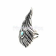 Lucky Brand Antiqued Silver Tone Feather Statement Ring with Turquoise - Size 7
