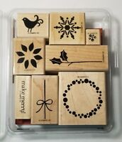 Stampin' Up! Berry Christmas Wood Mount Rubber Stamp Snowflake Wreath Bird Holly