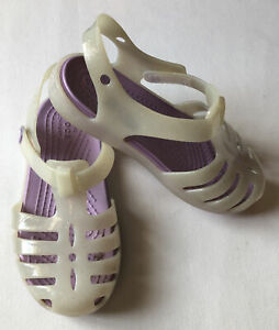 CROCS Toddler Kids Girl's Water Shoes Sandals White & Lavender Glitter Size C 9