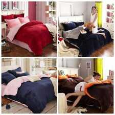 5 Pc Reversible Velvet Plain Duvet Cover Set Nice Bedding Set All Sizes