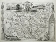 1841 Antique Map; Suffolk by Thomas Moule