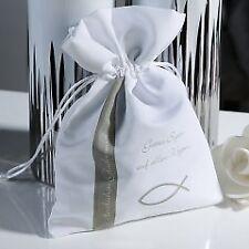 1 x Geschenkbeutel Gottes Segen Polyester silber/weiß B15 cm, Firmung, Kommunion