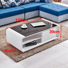 Coffee Table High Gloss Modern Design White Black Glass MDF End Side Living Room 2drawer 2shelf