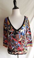 Alberto Makali M Artsy Abstract Beaded Sequin Bird Embellished V-Neck Sweater