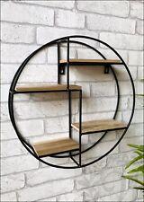 Round Wall Unit Retro Wood Industrial Style Metal Shelf Rack Storage Black