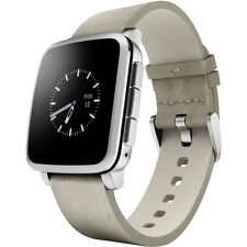 Pebble Time Steel Smartwatch Silver Leather Band Smart Watch Apple Android NEW.