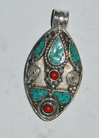 Ethnic Sterling Silver Pendant Turquoise Regional jewelry Handmade Jewelry OCT51