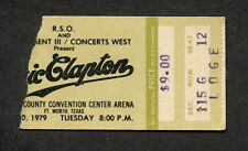 1979 Eric Clapton Muddy Waters Concert Ticket Stub Fort Worth Backless Promises