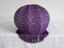 Lovely Vintage Rétro Violet 60'S/70'S tissu Tassled lumière/lampe abat-jour