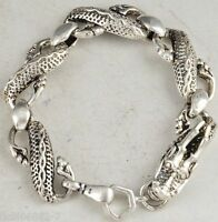 China Dragon Head Tibet Silver Chinese Old Handwork Bracelet
