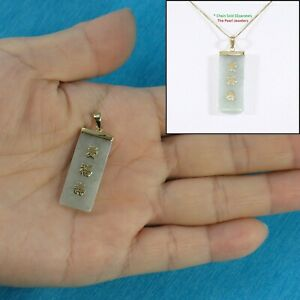 Good Fortune Celadon Green Jade Real 14k Yellow Gold Oriental Pendant Necklace