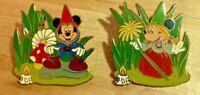 Mickey and Minnie WDW Spotlight Garden Gnome LE Disney PINS! RARE! 62313 62314
