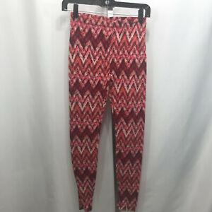 Women's Forever 21 Red Zig Zag Geometric Leggings XS X-Small B25E