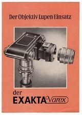 "Vintage German EXAKTA VAREX Camera Ad Brochure: ""Der Objektiv-Lupen-Einsatz"""