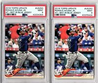 """""""TWO"""" 2018 TOPPS UPDATE #US250 RONALD ACUNA JR. ROOKIE LOT PSA MINT 9"""