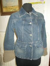 BLOUSON Veste jeans cintré nuque et poignets velours IKKS L 38/40 logo brodé