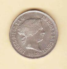 1868 SPAIN Philippines ISABELLA 50 centavos SILVER coin XF-AU