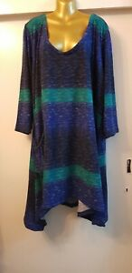 Plus Size 30-32 Winter thick jersey Colourful Lagenlook Dress Fit 5XL /6XL