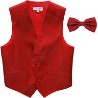 New Men's Vertical Tone on Tone stripes tuxedo Vest Waistcoat & bowtie Red