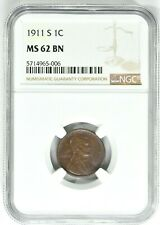 1911-S 1C Lincoln Wheat Cent NGC MS 62 BN 99c NO RESERVE  Witter Coin
