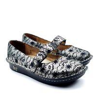 Alegria Feliz Fel-327 Womens Floral Mary Jane Suede Leather Silver 7-7.5 EUR 37